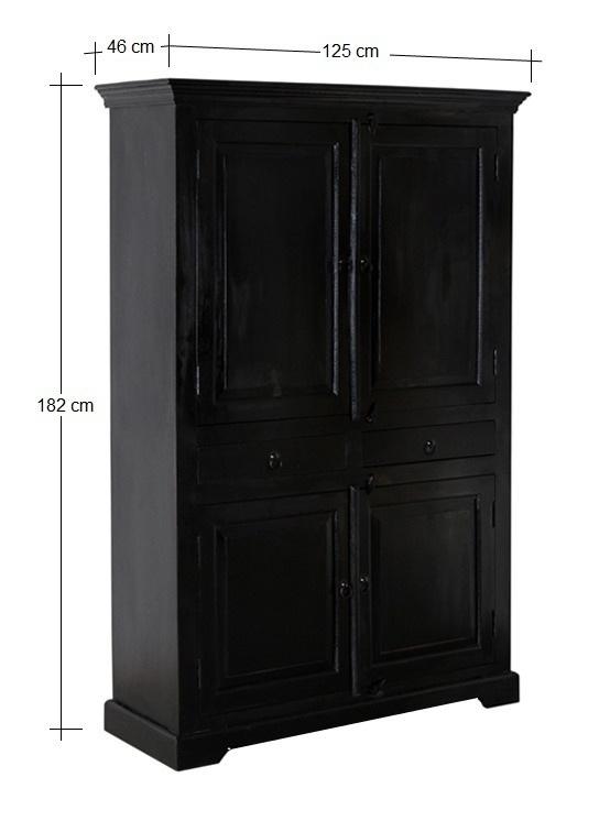 Armadio stipo etnico nero mobili legno massello online for Arredamento etnico on line