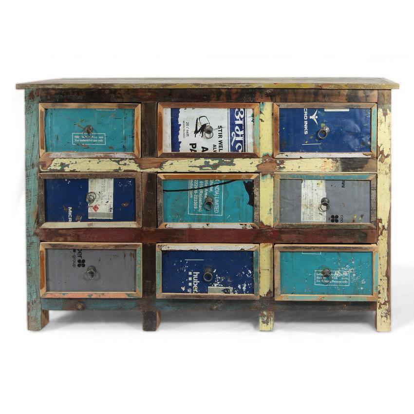 Cassettiera multicolor vintage Ethni Chic mobili vintage online