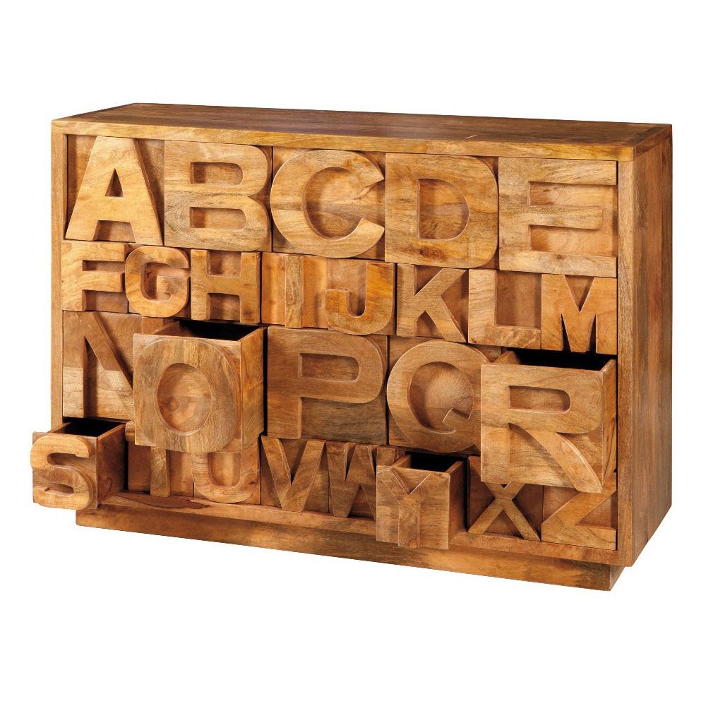 Cassettiera legno naturale ethnic chic mobili etnici for Cassettiera legno