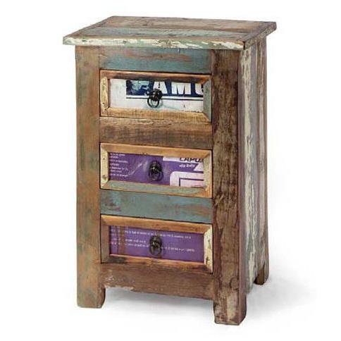 Comodino multicolor vintage ethnic chic arredamento vintage - Mobiletti in legno ...