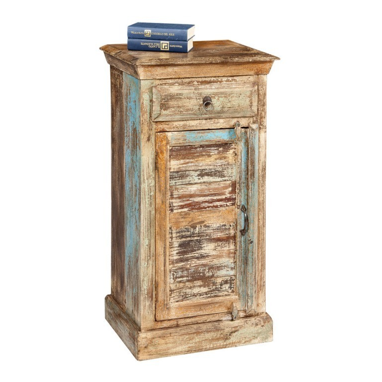 Comodino vintage legno mobili shabby chic provenzali etnici for Mobili vintage