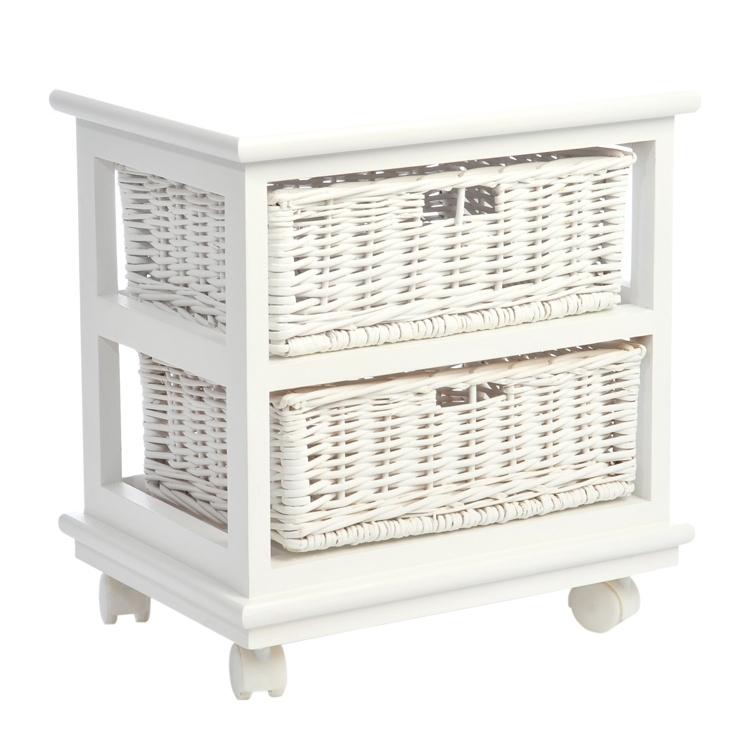 Comodino bianco con cesti mobili etnici provenzali for Comodini bianchi