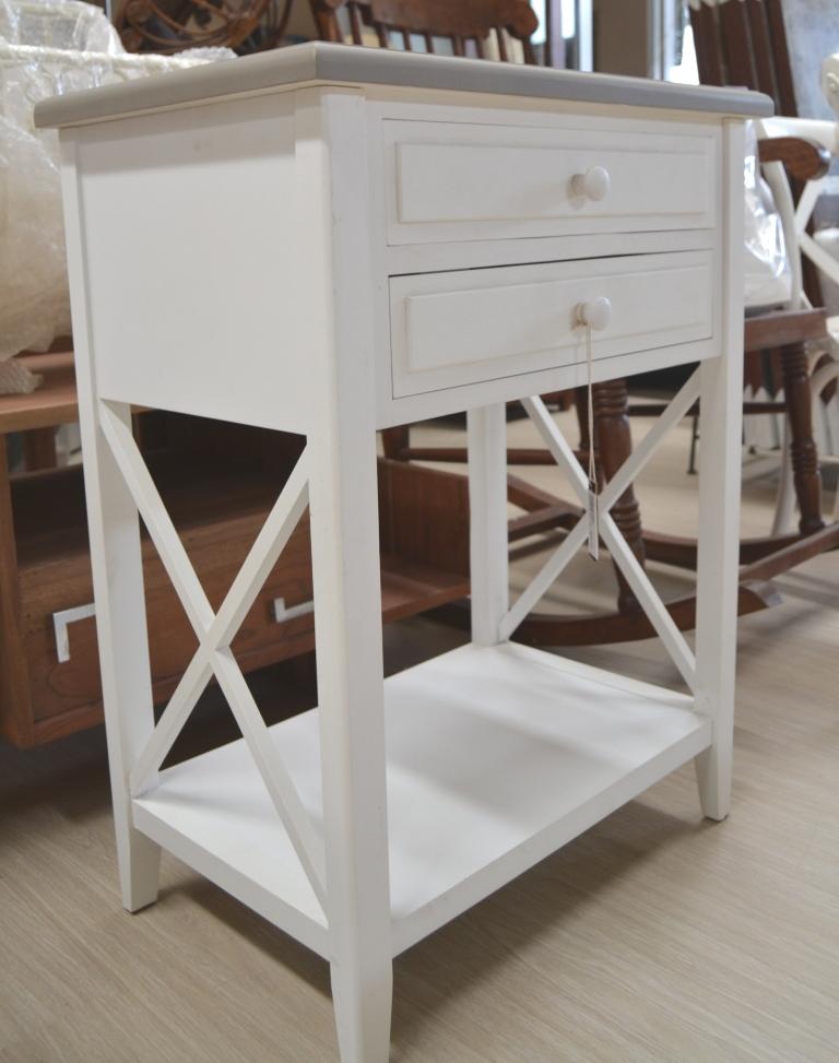 Mobiletto legno bianco chic mobili etnici provenzali for Comodini bianchi