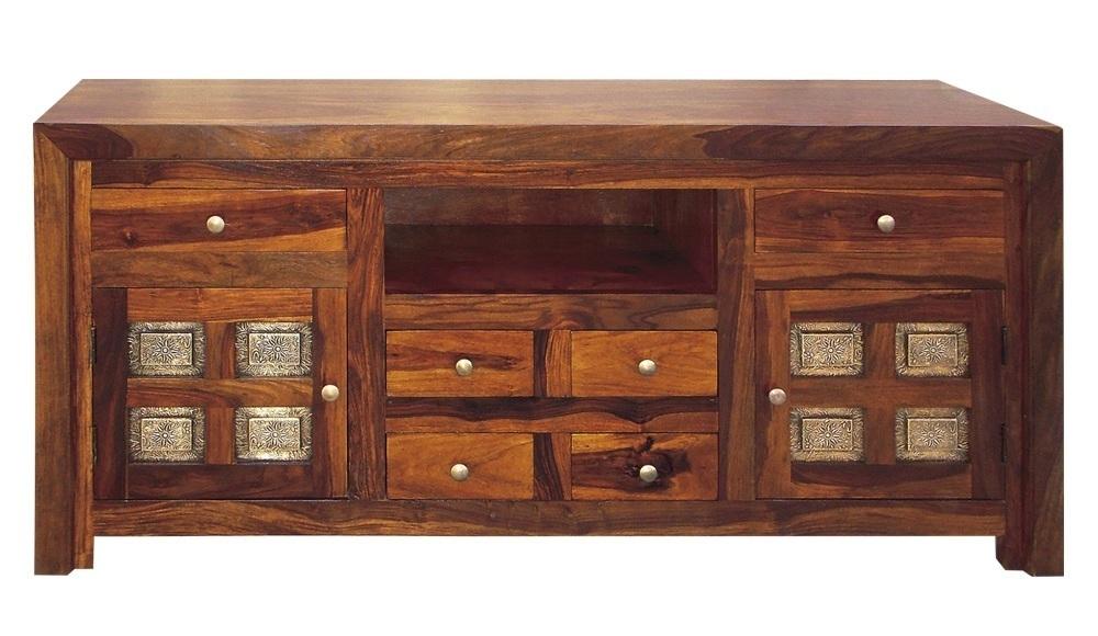 Porta tv etnico inserti ottone mobili etnici legno massello - Mobile porta tv etnico ...