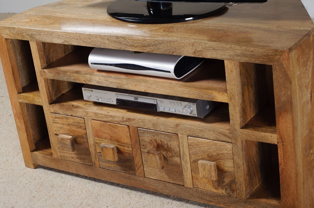 Porta tv etnico ad angolo mobili industrial vintage shabby chic - Mobili per tv in legno ...