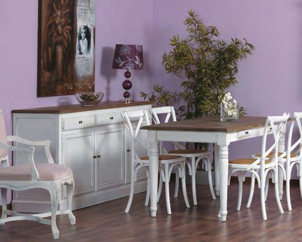 Tavolo legno bianco shabby for Salotti shabby chic