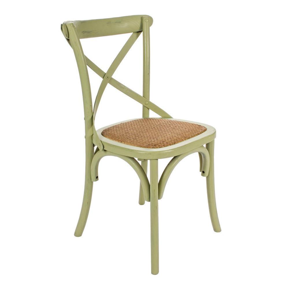 Sedia legno shabby verde for Sedia a dondolo verde