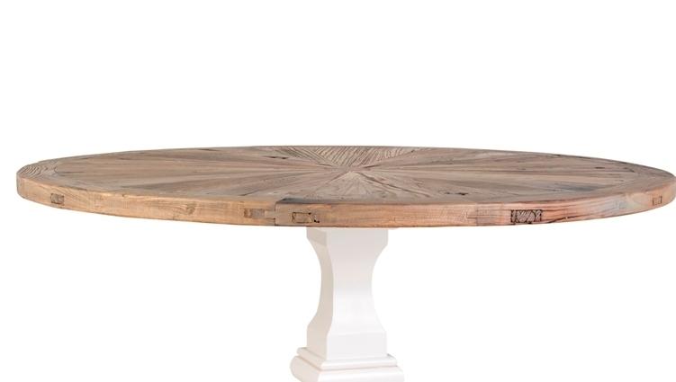 Tavolo tondo bianco shabby tavoli industrial vintage for Tavolo rotondo barocco