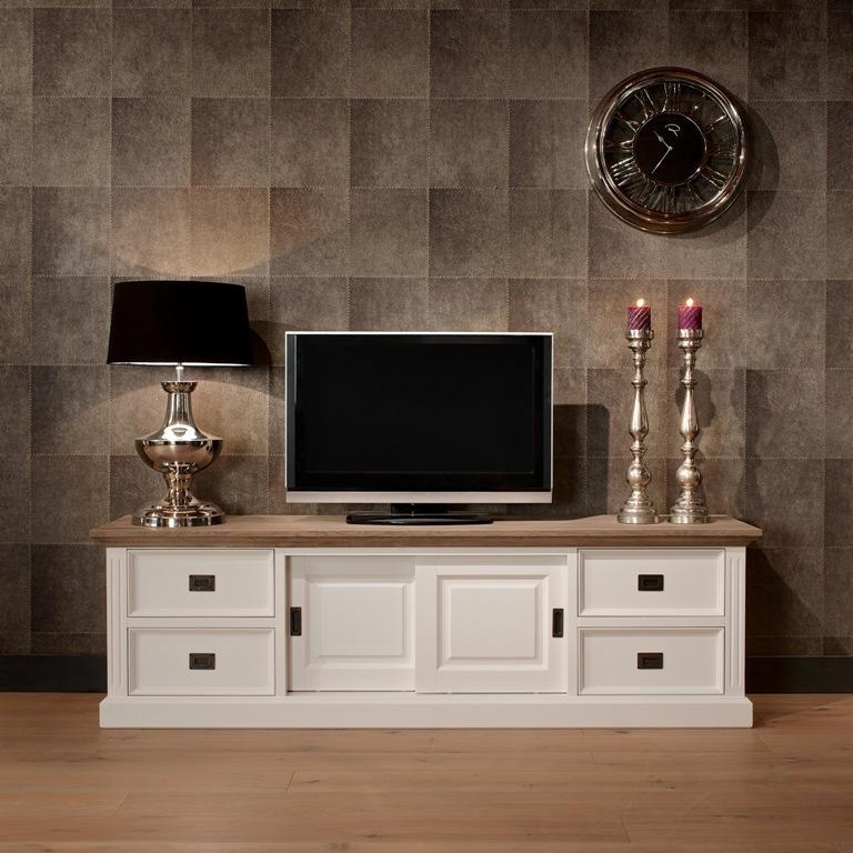 Porta tv provenzale bianco 200 cm arredamenti provenzali chic for Mobile tv shabby