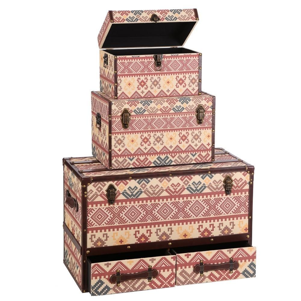 Set 3 bauli multicolor in lino mobili etnici provenzali for Cassapanche in offerta