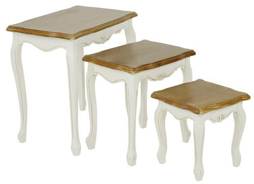 Set 3 tavolini shabby bianchi mobili provenzali shabby online for Tavolini bianchi