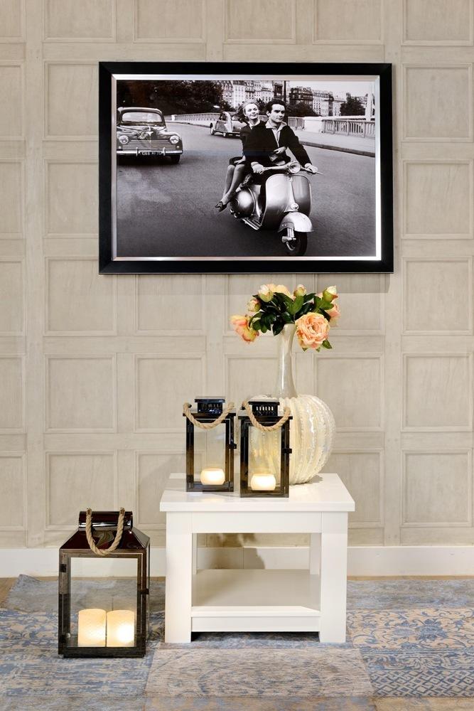 Tavolino legno laccato bianco mobili provenzali shabby chic for Tavolino salotto bianco laccato