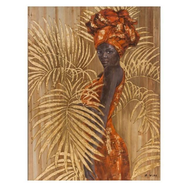 spesso Dipinto donna africana su legno - Mobili etnici provenzali shabby BP86