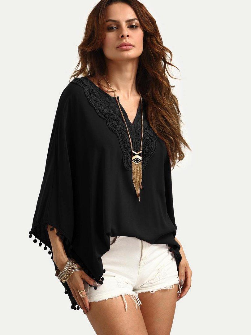 Blusa etnica nera elegante - Bluse camicie top etnici