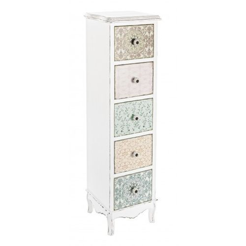 Cassettiera colonna shabby decorata