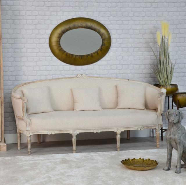 Divano francese bianco e marrone mobili provenzali for Divano legno shabby