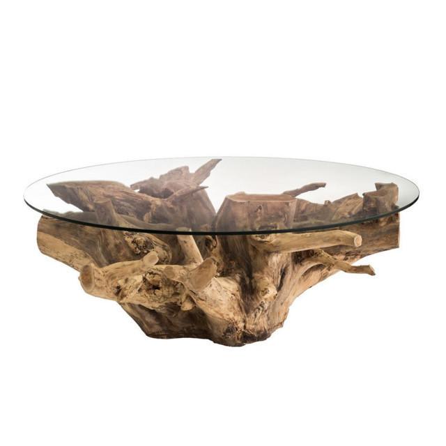 Tavolino radice teak e cristallo mobili etnici - Tavolo con radice ...