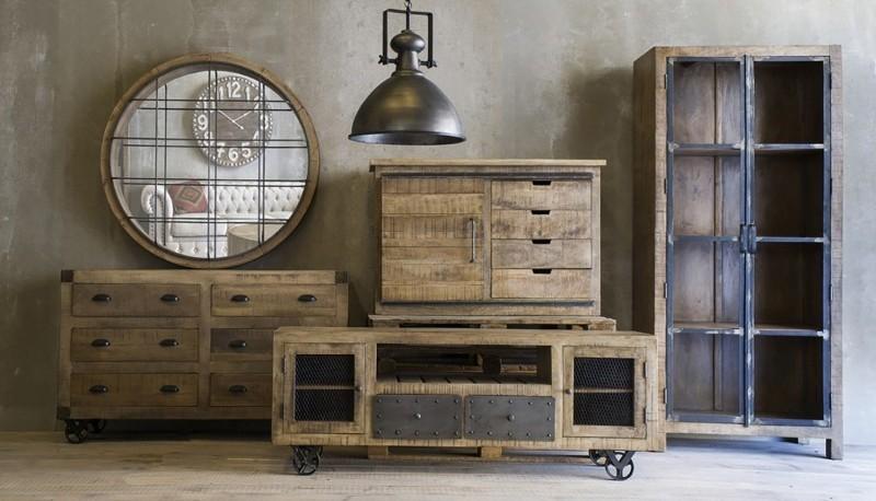 Mobili In Legno E Ferro : Stile industriale legno antico laccato bar in legno massello ferro