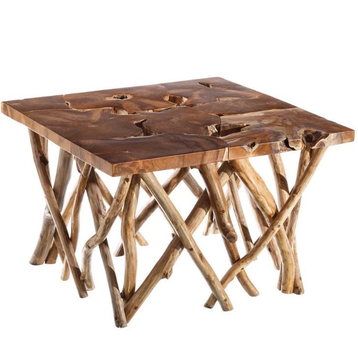 Tavolino In Legno Etnico.Tavolino Rustico In Legno Naturale