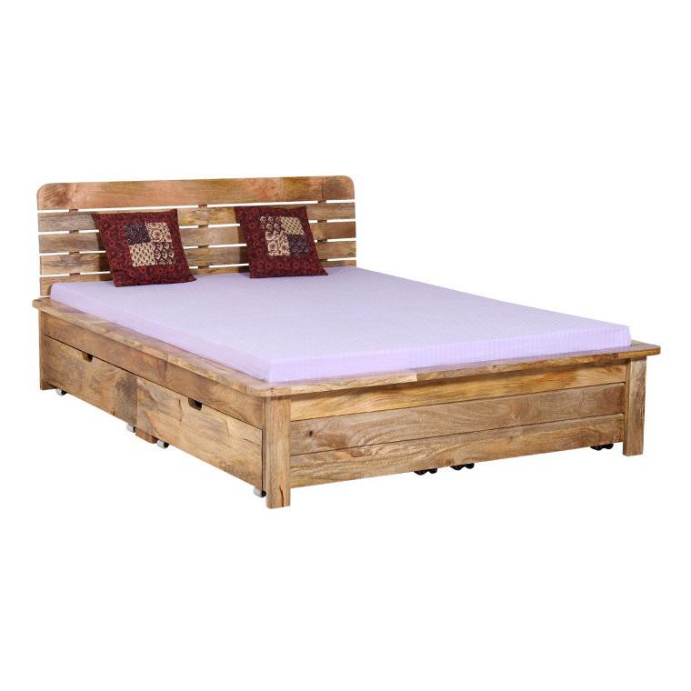 Letto etnico legno naturale mobili etnici provenzali shabby chic for Letto in legno con contenitore