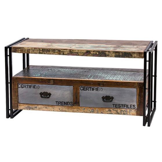 Mobile tv legno e ferro mobili etnici vintage industrial online - Mobili con legno riciclato ...