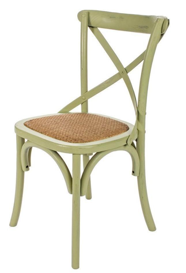 Sedia legno shabby verde for Sedie legno colorate