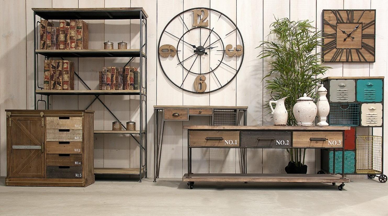 Consolle industrial ferro e legno mobili industrial vintage for Mobili industrial