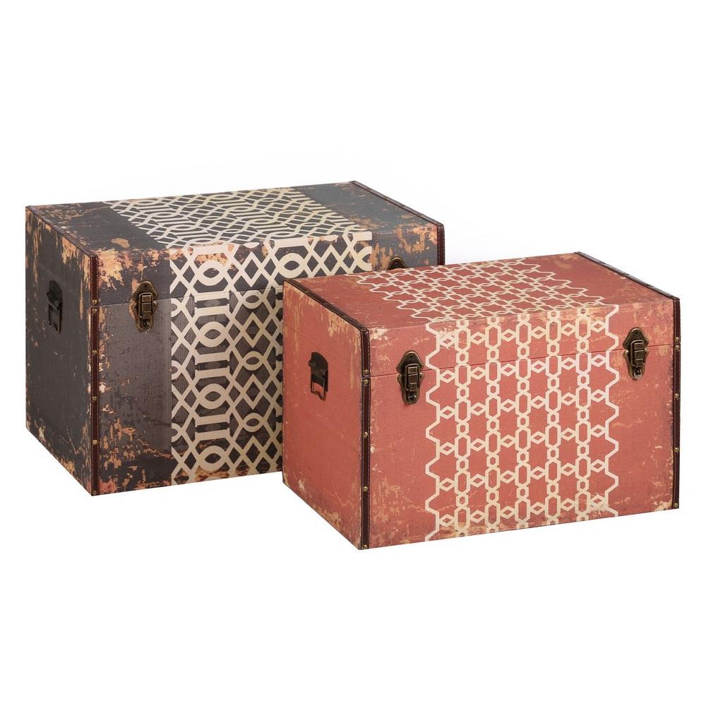 Set 2 bauli vintage legno mobili industrial vintage etnici for Bauli stile shabby chic