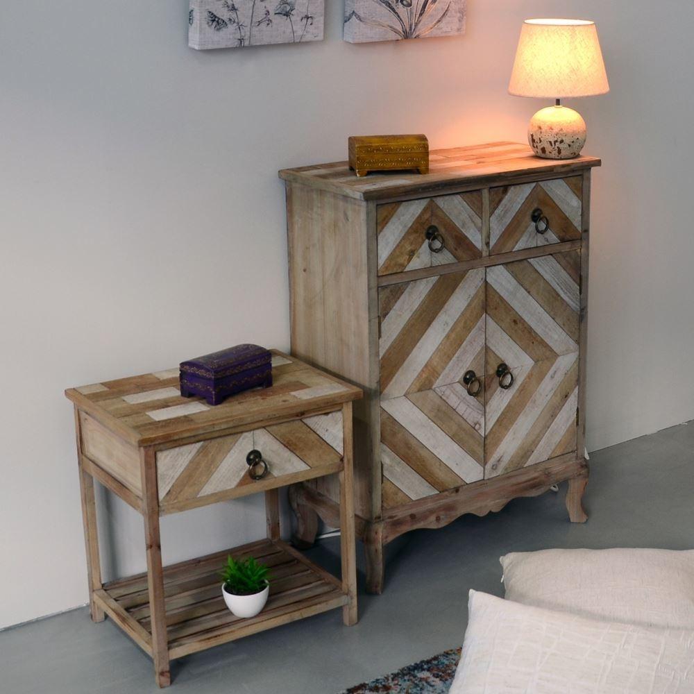 Comodino legno naturale mobili shabby chic provenzali etnici - Mobili legno naturale ...