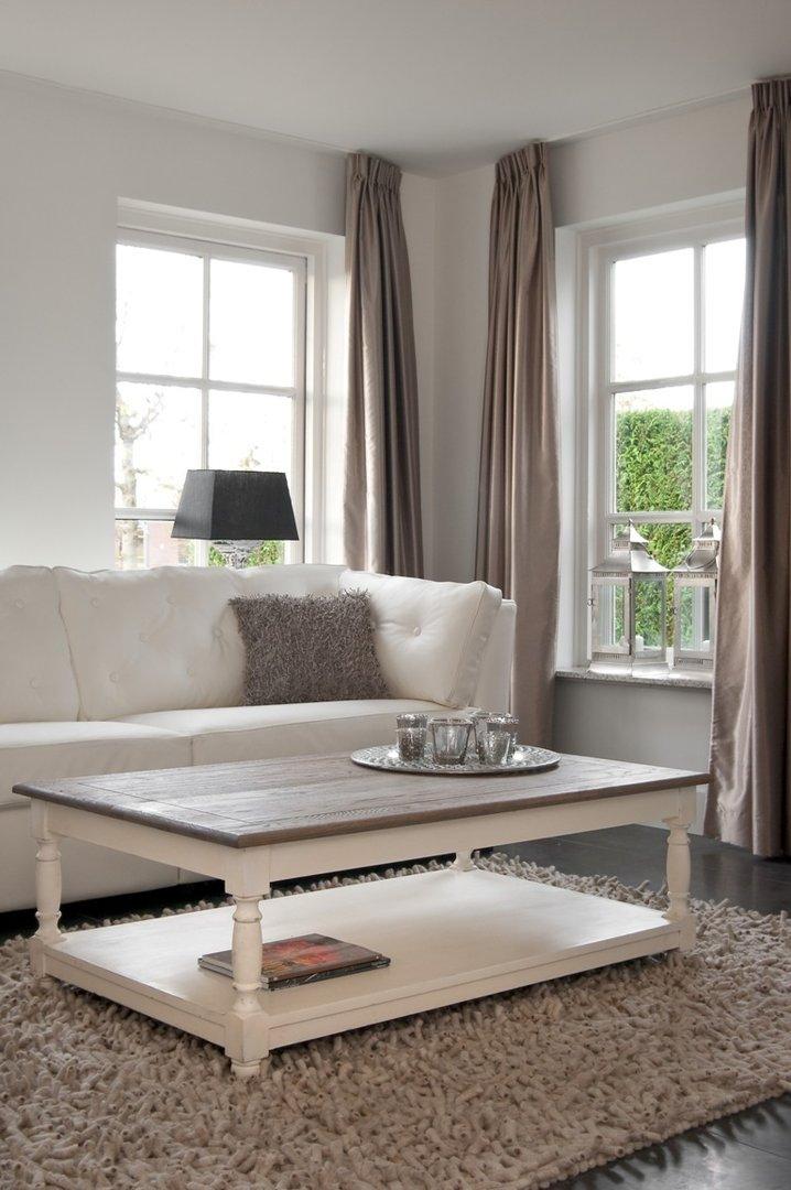 Tavolo salotto bicolore grigio mobili provenzali shabby chic for Salotto grigio