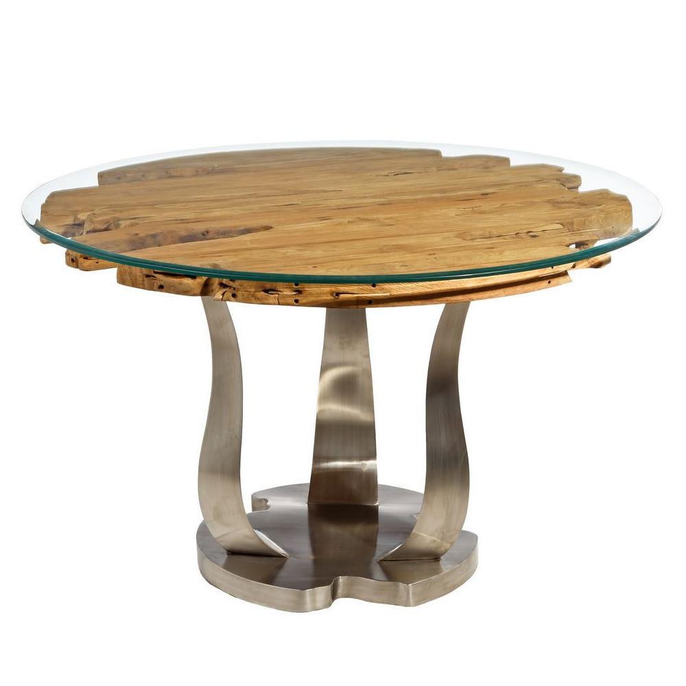 Tavolo naturale con cristallo mobili etnici provenzali shabby - Tavolo cristallo ...