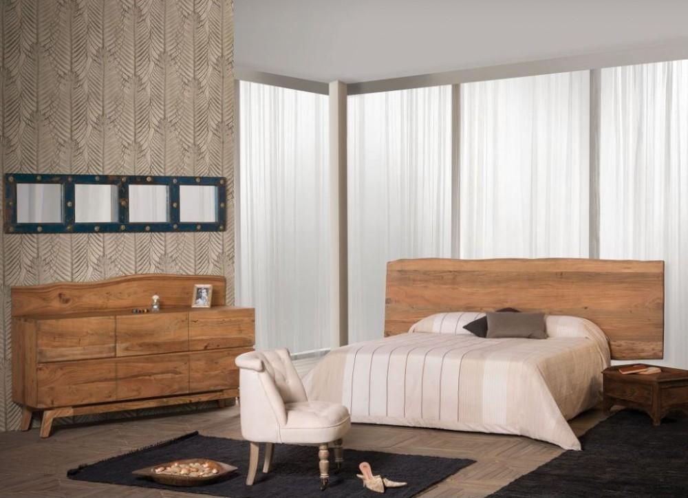 Testata letto legno di sheesham massello naturale mobili etnici - Testata letto in legno ...