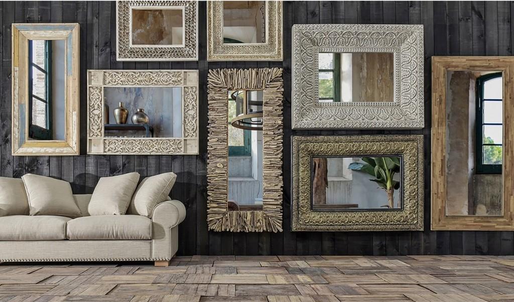 Specchio decapato intarsiato arredamento provenzale for Mobili buffet bassi