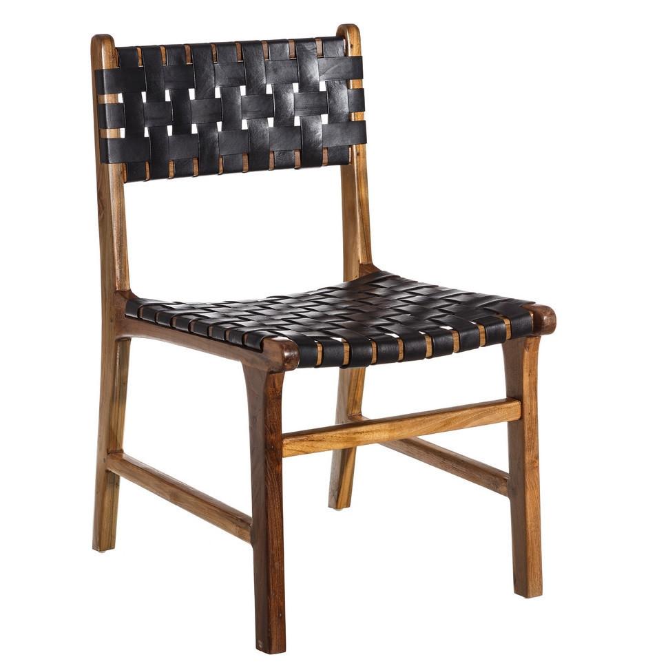 Sedia in teak e pelle nera